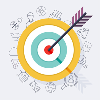 Target Bullseye Or Arrow On Target Flat Icon. Flat Design Modern