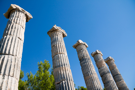 Priene, Ionic Columns In Temple Of Athena